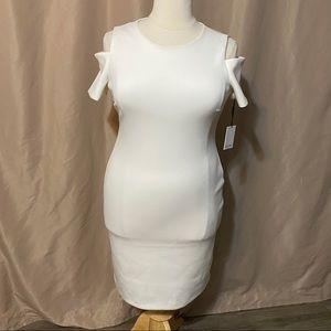 NWT Calvin Klein Size 14 White Cold Shoulder Dress